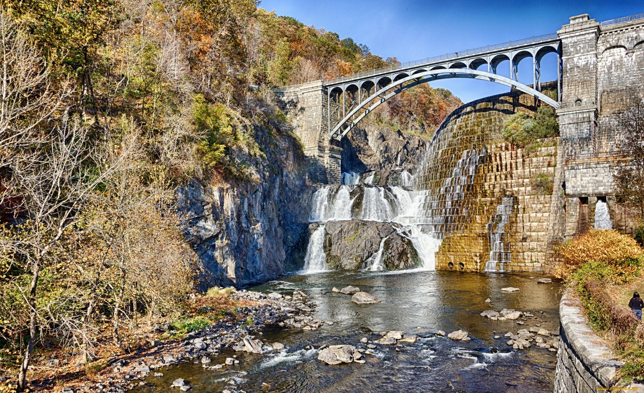 Природа водопады дамба мост река